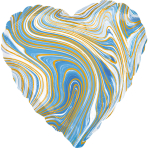 Standard Marblez Blue Heart Foil Balloon S18 Packaged