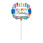 Mini Shape Happy Birthday Bright Stripe & Chevron Foil Balloon A30 Air Filled