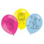 6 Latex Balloons SpongeBob 27.5 cm/11''