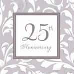 16 Napkins Silver Anniversary 33 x 33 cm