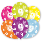 6 Latex Balloons All Round Printed Age 9 27.5 cm/11''