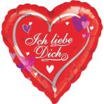 Standard Heart Ich liebe Dich Foil Balloon S40 Packaged 43 cm