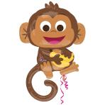 "SuperShape ""Happy Monkey"" Foil Balloon, P35, packed, 63 x 91 cm cm"