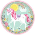 8 Plates Magical Unicorn Paper Round 22.8 cm