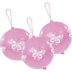 3 Latex Balloons Punch Balls Butterfly 35.5 cm / 14""