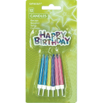 12 Spiral Candles Happy Birthday Assorted Height 6.3 cm
