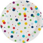 8 Plates Confetti Birthday Paper Round 17,7 cm