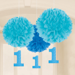 3 Fluffy Decorations with Danglers First Birthday Boy Paper 40.6 cm / 17.8 cm