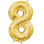 MiniShape Number 8 Gold Foil Balloon L16 Packaged 20cm x 35c