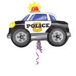 Junior Shape Police Car Foil Balloon, S50, packed, 60x45 cm