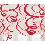 12 Swirl Decorations Apple Red Foil 55.8 cm