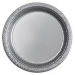 20 Plates Plastic Silver 17.7 cm