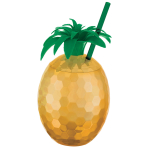 Cup with Straw Pineapple Gold Plastic 828 ml