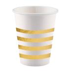 8 Cups Golden Wishes Paper 250 ml Metallic