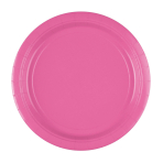 8 Plates Bright Pink Paper Round 22.8 cm