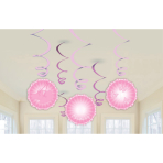 6 Swirl Decorations Christening Booties - Pink