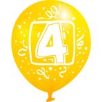 "6 Latex Balloons Age 4 22.8 cm / 9"""