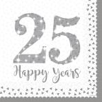 16 Napkins Silver Anniversaries 33 x 33 cm