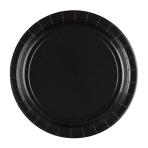 20 Plates Black Paper Round 22.8 cm