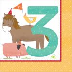 "16 Napkins Barnyard Birthday ""3rd Birthday"" 33cm"