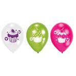 6 Latex Balloons Cupcake 22.8 cm/9''
