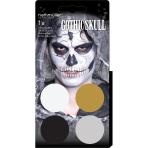 Aqua Kit Gothic/Skull (4 x Face Paint 3.5 g / 1 Brush)
