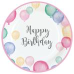 8 Plates Happy Birthday Pastel Round Paper 23 cm