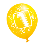 "6 Latex Balloons Age 1 22.8 cm / 9"""