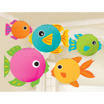5 Paper Lanterns with Add On  Fish