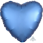"Standard ""Satin Luxe Azure"" Foil Balloon Heart, S15, packed, 43cm"