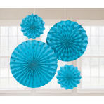 4 Fan Decorations Glitter Caribbean Blue Paper 20.3 cm / 30.4 cm / 40.6 cm