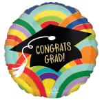 Standard Grad Rainbows All Around Foil Balloon S40 Packaged 43 cm