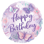 Standard Flutter Happy Birthday Foil Balloon Round S40 Packaged 43 cm