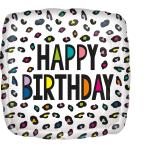 Standard Rainbow Leopard Birthday Foil Balloon S40 packaged