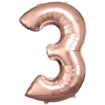 Large Number 3 Rose Gold Foil Balloon N34 Packaged 53 cm x 88 cm