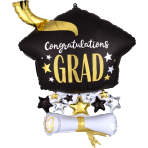 Supershape Satin Cap and Diploma Foil Balloon P35 packaged