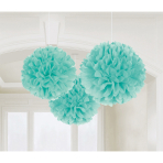 3 Fluffy Decorations Robin's Egg Blue Paper 40.6 cm