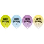 4 Latex Balloons LED Happy Birthday Stars 27,5 cm/11''