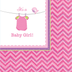 16 Napkins Shower With Love - Girl 25 x 25 cm