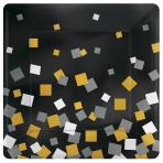 8 Plates Sparkling Confetti Paper Squared Metallic 17.7 x 17.7 cm