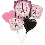 """Bouquet """"A Day in Paris"""" 5 Foil Balloons, P75, packed"""