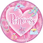 8 Plates Princess Paper Round 22.8 cm