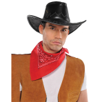 Hat Cowboy Faux Leather One Size