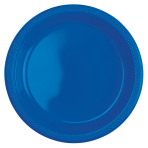 10 Plates Bright Royal Blue Plastic Round 22.8 cm