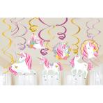 12 Swirl Decoration Magical Unicorn Foil / Paper 61 cm