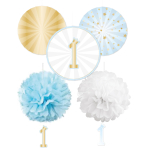 Decoration Kit 1st Birthday Blue Ombre Paper 5 Parts