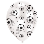 6 Latex Balloons All Round Printed Football 27.5 cm/11''