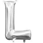 MiniShape Letter L Silver Foil Balloon L16 Packaged 20cm x 33cm
