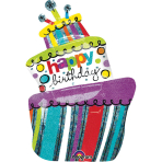 SuperShape Funky Birthday CakeFoil Balloon P40 Packaged