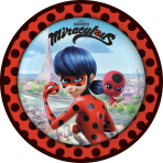 8 Plates Miraculous Paper Round 22.8 cm